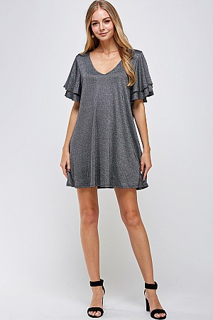 MTL SHINNY SILK FLARE DRESS