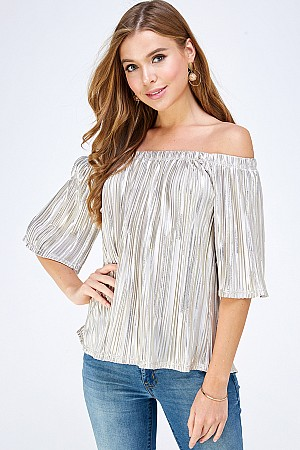 PLEATED BODRE FOIL OFF SHOULDER TOP